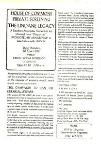Lindane Legacy even in the House of Commons April 1998