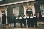 Outside Downing Street to hand in International Womens Day Card